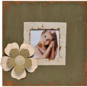 Caffco International Metal Picture Frame with Layered Flower Magnet Memorabilia Holder, Holds a 10cm by 10cm Photo, Distressed Dark Green and Whitewash
