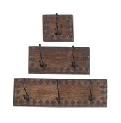 Deco 79 14440 Wood Metal Wall Hook S/3 46cm , 30cm , 15cm