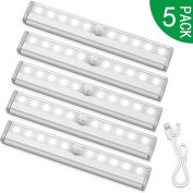 PILAAIDOU LED Wardrobe Light, Motion Sensor Cupboard Lights, USB Rechargeable Cabinet Lamps - 10 LED 3 Light Modes - Auto On/Off Stick for Wall, Closet, Cabinet, Stairs, Drawer
