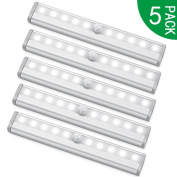 PILAAIDOU LED Wardrobe Light, Motion Sensor Cupboard Lights, 4xAAA Battery Battery Powered - 10 LED 3 Light Modes - Auto On/Off Stick for Wall, Closet, Cabinet, Stairs, Drawer