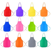 Biging 12 Pieces 12 Colour Children's Artists Fabric Aprons for Kitchen, Classroom, Community Event, Crafts and Art Painting Activity