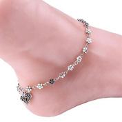 Ankle Bracelet, Gluckliy Women Lady Flower Heart Bead Chain Anklet Ankle Bracelet Barefoot Sandal Beach Foot Jewellery