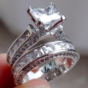 Bescita 2-in-1 Womens Vintage White Diamond Silver Engagement Wedding Band Ring Set
