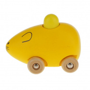MagiDeal Baby Kids Small Mouse Wooden Animal Toy Car, Mini Model Yellow