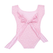 TiaoBug Newborn Baby Girls Lace Floral Romper Photography Sunsuit with Straps Photo Props Costume Pink One Size