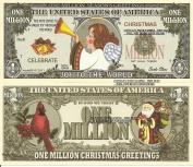 Novelty Dollar Christmas Angel Joy to the World Million Dollar Bills x 4 New Seasons Greetings