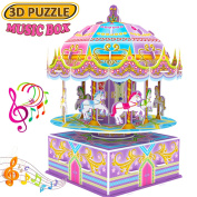 3D Whirligig Jigsaw Puzzles for Children, Carousel Horse Puzzle with Music DIY Building Model Early Learning Educational Toys Brain Teasers Kids Girls Toys Birthday Christmas Gifts-29 Pcs