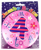 Age 4 Birthday Badge 4th Birthday Badge Jumbo Badge Pink Large Big Badge Girl by Card and Party Store