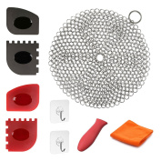 Cast Iron Cleaner 9 Packs Miker XL 7 x 7 Best Quality 316L Stainless Steel Chainmail Scrubber for Skillets Cast Iron Pan With Silicone Hot Handle Holder+2 x Pan Scraper+2 x Grill Scraper+Kitchen Towel