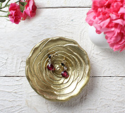 Handmade Rose Trinket Dish Accessories Decorative Jewellery Dish Catch All Plate with Brass Finish