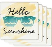 Hello Sunshine Sunglasses Yellow Watercolour Look 4 x 4 Ceramic Coaster 4 Pack