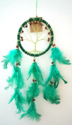Dream Catcher - Tree of Life - Wood Beads and Suede Ring ~ GREEN ~