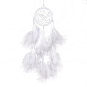 Dream Catcher Net White Pure Handmade Feather Wall Hanging Decoration Ornament Bobury