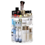 PILAAIDOU Rotating Makeup and Jewellery Organiser Holder, 360-Degree Rotating Adjustable Multi-Function Cosmetic 4 Layers Storage Box, Acrylic Shelves Large Countertop Cosmetic Storage Clear
