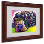 Trademark Fine Art Savvy Labrador Matted Artwork by Dean Russo with Wood Frame, 28cm by 36cm