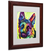 German Shepherd Matted Artwork by Dean Russo with Wood Frame, 28cm by 36cm