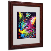Trademark Fine Art Thinking Cat Crowned Matted Artwork by Dean Russo with Wood Frame, 28cm by 36cm