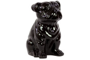 Benzara Smooth & Shiny Ceramic Sitting Bull Dog, Black