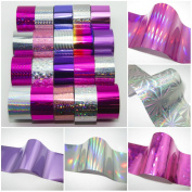 20 x SILVER PINK PURPLE Nail Art Wrap Foils Transfer Glitter Sticker Polish Decal Decoration