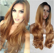 Lace Front Wigs Ombre Long Wave Lace Wig Synthetic 2 Tones Dark Roots Glueless Heat Resistant Lace Wigs Middle Parting for Women 60cm