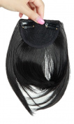 Clip In Human Hair Fringe - Natural Black