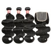 "Brazilian Hair 3 Bundles, Exbe Grade 8A Brazilian Body Wave Remy Hair 3pcs Set Body with 10"" free part Closure 100 Unprocessed Human Bundles"