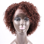 Golden Rule Curly Wigs for Black Women Brown Curly Explosion Virgin Human Hair Lace Front Wig 130% Density Unprocessed Virgin Brazilian Hair Wigs 4#