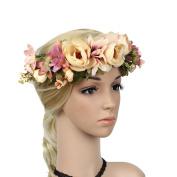 Meiliy Women Flower Headband Wreath Crown Floral Wedding Garland with Adjustable Ribbon