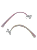 M & Co Girls Kids Silver Glitter Unicorn Faux Multi-Coloured Hair Clips Two Pack Silver One Size
