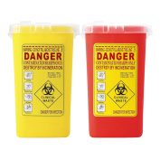 Sharplace Pack of 2 Sharps Container Biohazard Needle Disposal Tattoo Waste Bin 1 Litre