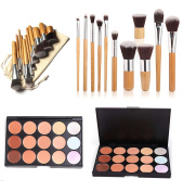 EVER RICH ® BAMBOO MAKEUP BRUSHES 11 PIECES NATURAL BAMBOO MAKE UP BRUSH SET WITH 15 colour CONCEALER PALLETTE