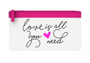 Love Is All You Need Statement Flat Pencil Case - Pink