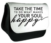 Take The Time To Do What Makes Your Soul Happy Statement Clutch Bag Or Pencil Case - Black