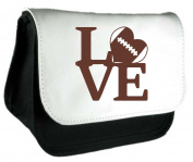 Love Word American Football Heart Sports Clutch Bag Or Pencil Case - Black