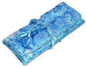 Blue White Abstract Embroidered Silk Make Up Bag Wrap Jewellery Roll