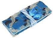 Blue Black Birds Embroidered Silk Make Up Bag Wrap Jewellery Roll