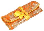 Burnt Orange Embroidered Silk Make Up Bag Wrap Jewellery Roll