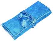 Turquoise Square Embroidered Silk Make Up Bag Wrap Jewellery Roll