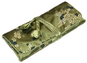 Green Flower Embroidered Silk Make Up Bag Wrap Jewellery Roll