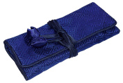 Navy Square Embroidered Silk Make Up Bag Wrap Jewellery Roll