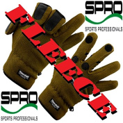Spro Fleece Fishing Gloves Size L with 40g Thinsulate and Rubber Surfaces and Slit Fingers.