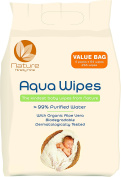 Aqua Wipes Baby Wipes, (Bag of 4 x 64 wipe packs (768 Wipes)), Suitable from Birth, Newborn, AQW64F, Vegan, Biodegradable, _99% Purified Water, NHS APPROVED