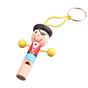 Vi.yo Cartoon Pirate Whistle Children 's Wooden Instruments Music Toys Whistles Horn with Keychain for Kids Games,1 Piece