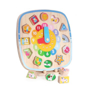 Boby Wooden Clock Toy Puzzle for Children Kids Teaching Clocks Shape Numbers Sorting