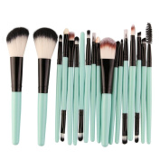 DELOITO 18Pcs Green Nylon Makeup Brushes Set Professional Essential Foundation Powder Eyeshadow Cosmetic Brush Tool