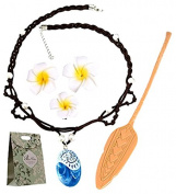 S-Line Princess Dress Up Moana Costume Accessories Set, Seashell Necklace Flower Hairpins And Moana Spear, Adventure Movie Gifts For Kids