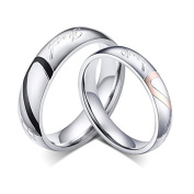 "Supshark Titanium Steel The New Love Couple Rings Promise Forever Wedding Engagement Rings Set "" You Are My Only Love"" Rings 2Pcs (With Gift Bag)"