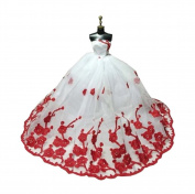 [Fit Doll] Lace Dress/Gowns For Doll/Girl's Present/Doll Dress,Red & White