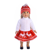 wuayi Cute Reindeer Snowman Sweater Cotton Outfit Cap For 46cm American Girl Doll