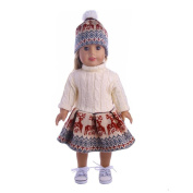 MML Cute Sweater Outfit Reindeer Snowman Sweater & Cap For 18'' American Girl Doll
